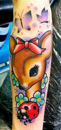 Tattoo Artist - Hexa Salmela. I like, old school cute and simple with new vibrant colors and the more artsy butterflies.