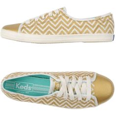 Keds Sneakers ($54) ❤ liked on Polyvore featuring shoes, sneakers, gold, keds shoes, round cap, flat sneakers, keds footwear and rubber sole shoes
