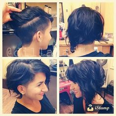 I really think I want this haircut. Thoughts? Suggestions? #undercut #bob #shorthair