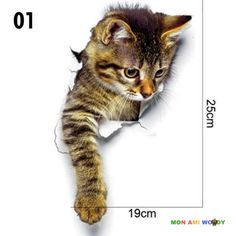 Pu Ran Cute Cat Wall Art Sticker Home Decoration Bathroom Toilet Lid Cover Decal - cat art Chat 3d, Cat Toilet Training, Cat With Blue Eyes, Cat Wall, Cat Tattoo, Cat Drawing, Pretty Cats, Wildlife Art, Animal Drawings