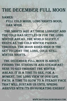 Moon:  #Full #Moon ~ December. - Pinned by The Mystic's Emporium on Etsy.