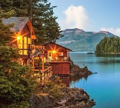 Sunset on a lodge on Nootka Island in British Columbia