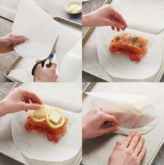 Parchment Pouch for Salmon - Preheat oven to 425 degrees. Fold paper in half and cut out half a heart. Unfold paper and lay on a work surface. Place salmon, on top of sliced onions and red bell peppers, close to the fold on the paper. Season with dill, parsley, salt, pepper and a splash of white wine. Top fish with lemon slices and butter. To close packet, tightly fold the curved edge, slightly tenting paper over salmon. Bake for 15 minutes. #healthy