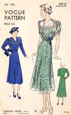 76f04eb07f0 1930s Vogue pattern One Piece Frock