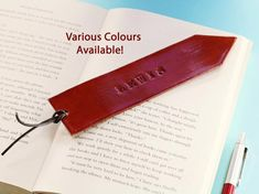 Click To Shop Now - Handmade Personalised Name Leather Bookmark, Hand Stamped Leather Book Mark. #personalised #name #initials #leather #bookmark #handstamped Leather Bookmarks, Leather Keyring, Leather Gifts, Leather Books, Leather Craft, Leather Anniversary Gift, 3rd Anniversary Gifts, Personalised Keyrings, Personalized Gifts