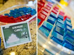 transformers birthday party Red and Blue jello cubes...