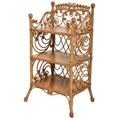 Victorian Wicker Etagere | From a unique collection of antique and modern shelves at https://www.1stdibs.com/furniture/storage-case-pieces/shelves/