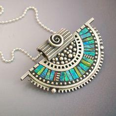 Fine silver pendant with polymer inlay - Liz Hall - Lizards Jewelry