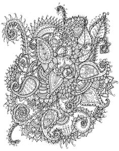 @complicolor Paisley Mess by WelshPixie Printable pages and Coloring books for grown-ups at: http://www.complicatedcoloring.com #flowers #coloring