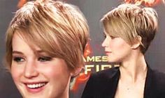 Jennifer Lawrence Pixie Haircut - go a little darker, but allow the front to be longer for a better grow out plan