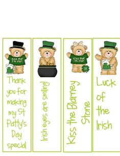 Give these bookmarks to your kiddos as a treat, reward or simply to say Happy St Patrick's Day.A set of three different types of bookmarks: one...