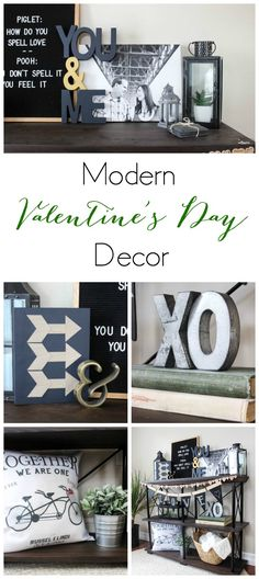 Step away from the traditional red and pink decor and add some new colours this Valentine's day! Love this modern vignette for of great DIY ideas!