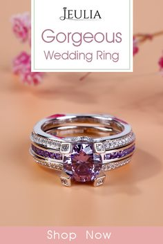 Gorgeous Wedding Ring. Affordable Engagement Ring That Was Created For A Special Bride ❤️ engagement ring gold solitaire cathedral diamond pave band twisted ❤️ Jeulia Interchangeable Round Cut Created Lilac Amethyst Wedding Set 2.81CT TW #JeuliaJewelry