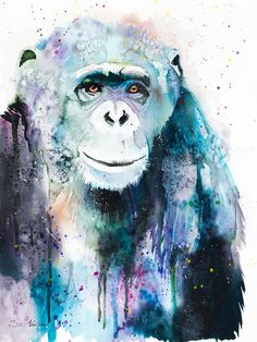 Chimpanzee Watercolor Painting Print Print featuring the painting Chimpanzee by Slavi Aladjova