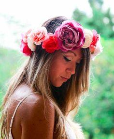 Large Flower Crown, Boho Chic Headpiece, Infinity Crown, Lana Del Ray Type Flower Crown, Bridal Crown, Wedding Headpiece, Festival Crown
