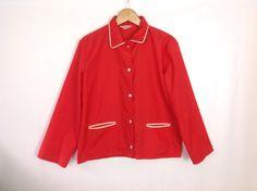 Vintage 50s 60s Windreaker Bold Bright Orange Jacket Made in Japan Clothing Pajama Top Rockabilly Jacket Nylon Windbreaker Jacket Unisex