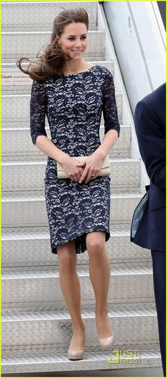 (Kate Middleton) - Love the dress! Where can I find something like it? Modest neckline, 3/4 sleeves... to the knee. Love it! Classic, fashionable, modest = win. Add my favorite color cream, and you've sealed the deal.