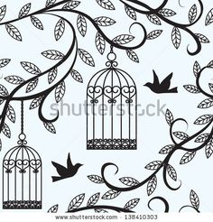 Seamless background with branch of tree silhouette, birds flying and cage by Svetlana Prikhnenko, via Shutterstock