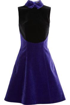 Christopher Kane|Two-tone velvet dress|NET-A-PORTER.COM
