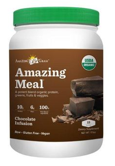 Amazing Grass Amazing Meal, Gluten Free, 15 Servings***Flavor: Organic Chocolate Infusion.Is a powerful blend of plant based proteins, green superfoods, phtyo nutrient rich fruits and vegetables, digestive enzymes and probiotics,Organic, raw, vegan, cold processed powerhouse,Comes in 3 Flavors - Original, Chocolate and Pomegranate Mango,.