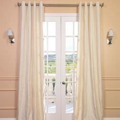 Space Living Cream Linen Blend Grommet Curtain Panel