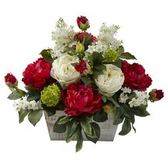 Mixed Floral Arrangement w/White Wash Planter from Scotts Sales. Saved to Artificial Plants, Flowers, Wreaths and more. Arrangements D'hortensia, Peony Arrangement, Christmas Floral Arrangements, Silk Floral Arrangements, Artificial Flower Arrangements, Artificial Plants, Faux Flowers, Silk Flowers, Spring Flowers