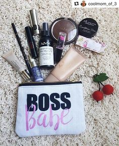 "Here's @coolmom_of_3 with her ""Boss Babe"" Pouch filled with tons of goodies! Gissele is one of my fave Boss Babes!! #alittleleafy #shareyoursociety6 #smallbusinessowner #girlboss #mompreneur #motivation #entrepreneur #business #boss #bossbabe #bossbabes #makeup #pouch #bag #case"