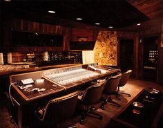 """The studio was originally called """"Westlake Audio"""" when created in the early 1970's, and is considered one of the first big commercial studios to create and produce acoustically standardized music with interchangeable studios. The control room of Studio A features a 60 channel Neve V3 console and a 1,200-square-foot tracking room and includes a large piano isolation room with acoustic marble floors."""