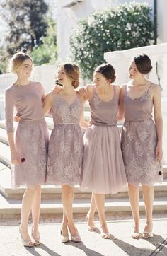 Gorgeous bridesmaid dresses by Jenny Yoo Neutral Bridesmaid Dresses, Brides And Bridesmaids, Bridesmaid Skirt And Top, Bridal Gowns, Wedding Gowns, Dress Brokat, Bridesmaid Inspiration, Wedding Bells, Wedding Styles