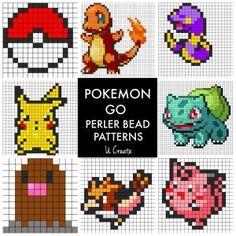 Perfect for kids who love Pokemon Go and perler beads! Find tons of free Pokemon Go perler bead patterns! Pokemon Go, Pikachu, Pyssla Pokemon, Pokemon Perler Beads, Pokemon Craft, Easy Pokemon, Pokemon Ships, Pokemon Comics, Pokemon Fusion