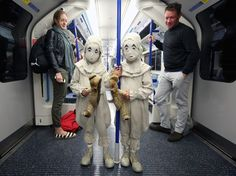 In a publicity shoot for Miss Peregrines Home of Peculiar Children, the telepathic twins were seen posing in different spots in London. Here they are posing with their split teddy bear on the Tube. From the Mirror UK.
