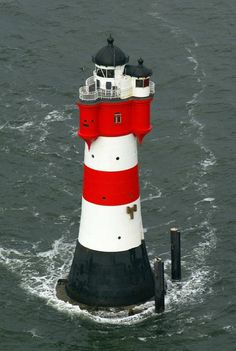 Leuchtturm Roter Sand, North Sea, Weser estuary German Bight Lighthouse-Turned Hotel in Bremerhaven, Germany . Lighthouse Pictures, Beacon Of Light, Water Tower, Am Meer, The Good Place, Beautiful Places, Amazing Places, Around The Worlds, Places