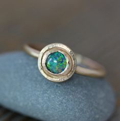 14k Gold and Blue Opal Triplet Halo Ring Rustic by onegarnetgirl