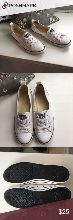 Converse Chuck Taylor All Star Canvas Slip-on Great condition, white Chuck Taylor ballet lace slip on. Worn a handful of times Converse Shoes Sneakers
