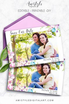 Save the date Photocard - Printable & Editable PDF with watercolor floral design by Amistyle Digital Art on Etsy