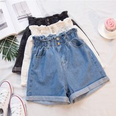 New Hot Female Casual High Waist Denim Shorts Elastic Waist Wide-Leg Jeans Shorts Summer Plus Size Solid Shorts Mode Outfits, Short Outfits, Casual Outfits, Summer Outfits, Beach Outfits, Grunge Outfits, Style Grunge, Grunge Look, Soft Grunge