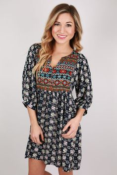 Perfect Day Aztec Tunic in Navy | Impressions Online Women's Clothing Boutique