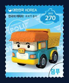 Korean-Made Characters Series Stamps (3rd), Robocar Poli, Korean Character, Character, Story, Yellow, Orange, Sky blue, 2013 03 12, 한국의 캐릭터 시리즈우표(로보카 폴리-덤푸), 2013년 3월 12일, 2901, 로보카 폴리(로이, 엠버, 폴리, 헬리, 덤푸, 캡, 포스티, 스푸키, 스쿨비, 클리니), postage 우표