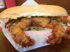 Soft Shell Crab Po'Boy - http://johnrieber.com/2013/01/27/behold-the-pork-belly-poboy-big-littles-bites-down-hard-deep-fried-cheeseburger/