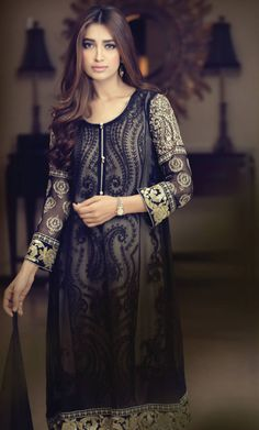 Buy Blue Embroidered Chinese Chiffon A-Line Dress by Maria B. Chiffon Collection 2015.