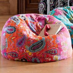 Kantha Cloth Beanbag, Warm | PBteen