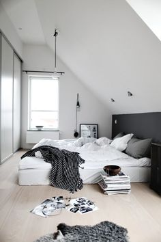 Black and white bedroom. Add some mix and match black and white fabrics to create this look.