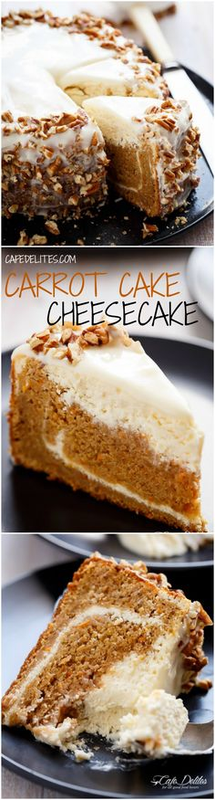 Carrot Cake Cheesecake to add to your Easter menu planning! A fluffy and super moist, lower in fat, lighter in calories carrot cake layered with a creamy, lemon scented cheesecake. The BEST of both worlds! | http://cafedelites.com