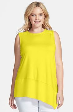 Vince Camuto Woven Hem Asymmetrical Knit Top (Plus Size) available at #Nordstrom