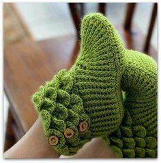 pantufas em crochet