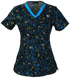 V-neck Top - Midnight Flowers