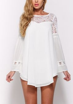 Wow your main this fine white lace mini shift dress. It features a beautiful crew neckline detailing, flashy trumpet sleeves and a beautiful lace panel. | Lookbook Store