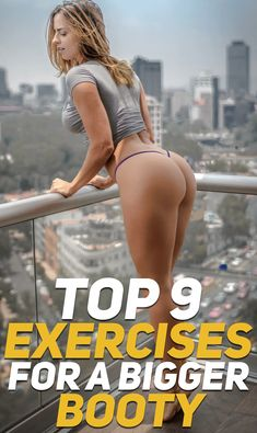 Here are the top 9 exercises that will help you sculp a bigger booty! Check out the big booty workout! #fitness #fit #girl #booty #butt #exercise #workout #gym