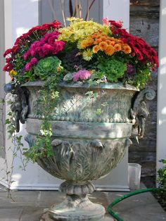 337 Most Beautiful Fall Planter Ideas - Awesome Indoor & Outdoor Container Flowers, Container Plants, Container Gardening, Vegetable Gardening, Fall Flower Pots, Fall Flowers, Purple Flowers, Fall Containers, Succulent Containers