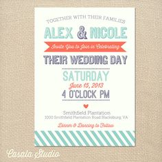 Whimsical Summer Wedding Invitation Printable Or By Casalastudio 18 00 Invitations